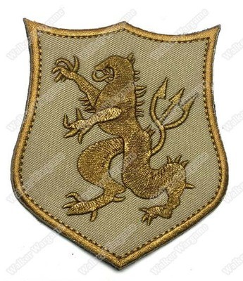 WG015 SEAL Team 6 Crusader Lion Patch With Velcro - Tan Colour