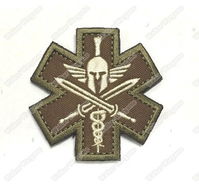 WG055 Spartan Tactical Medic Military EMT Morale Badge Patch With Velcro - Tan Color