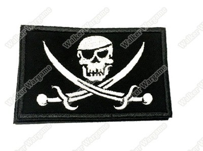 WG030 Navy SEAL Team Skull Pirate Patch With Velcro - Full Colour