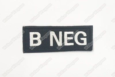 WG041B US Army B NEG Blood Type Patch With Velcro - SWAT Black