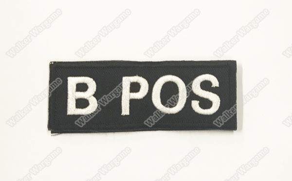 B616B US Army B POS Blood Type Patch With Velcro - SWAT Black