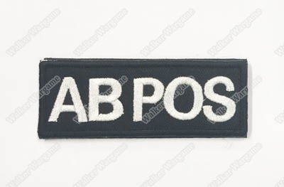 B618B US Army AB POS Blood Type Patch With Velcro - SWAT Black
