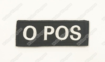 B617B US Army O POS Blood Type Patch With Velcro - SWAT Black