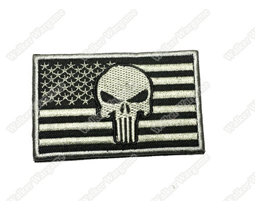 WG038 Navy SEAL Punisher US Flag Patch With Velcro - ACU Color