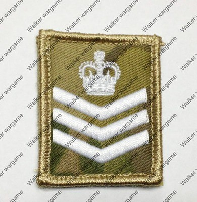 B2250 UK British Army Staff Sergeant Rank Patch With Velcro - Multicam Colour