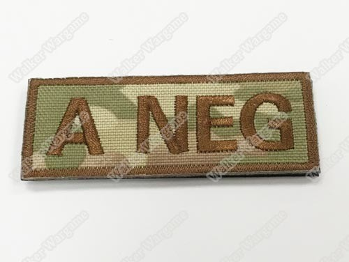 WG040 US Army A NEG Blood Type Patch With Velcro - Multicam Colour