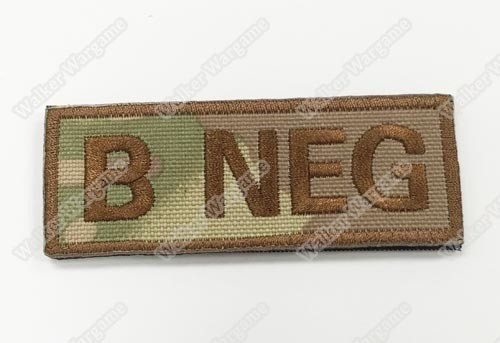 WG041 US Army B NEG Blood Type Patch With Velcro - Multicam Colour