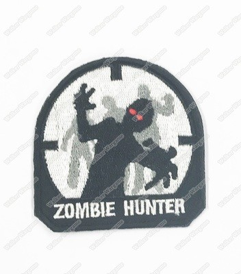 WG081 Aiming Zombie, Zombie Hunter Patch With Velcro - Black