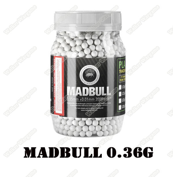 MadBull 0.36g Precision Ultimate Heavy BB For Snipers 2000 rds - White Color