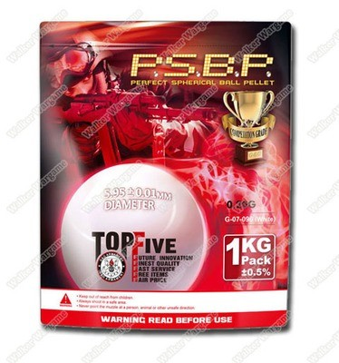 G&G 0.20G P.S.B.P. Perfect Spherical Seamless 6mm Airsoft BBs - 1KG 5000rds