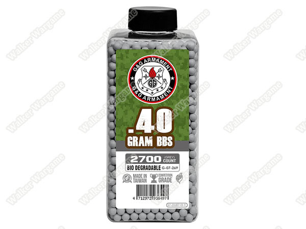 G&G 0.40g High Quality Precision Grade Biodegradable BB - 2700rds Bottle