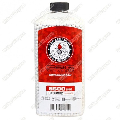 G&G 0.20G P.S.B.P. Perfect Spherical Seamless 6mm Airsoft BBs - 5600rds Bottle