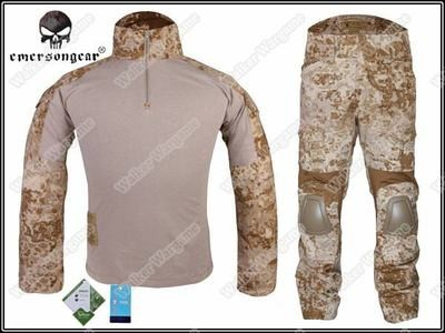 Combat Set Shirt & Pants Build in Elbow & Knee Pads - US Navy Seal AOR1 Digital Desert Camo