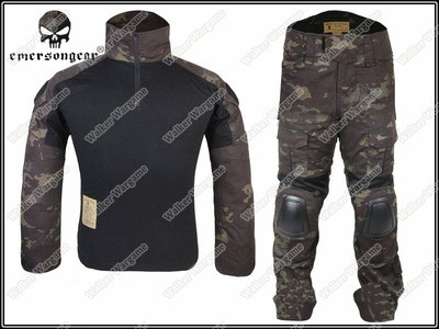 Combat Set Shirt & Pants Build in Elbow & Knee Pads - US Special Force Black Multicam