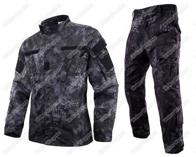 BDU Battle Dress Uniform Full Set - Special Force Night OPS Black TYP Typhon Camo