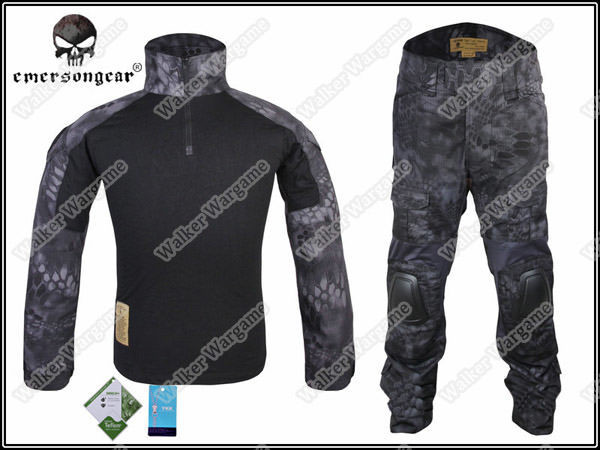 Combat Set Shirt & Pants Build in Elbow & Knee Pads - Night OPS Black TYP Typhon Camo