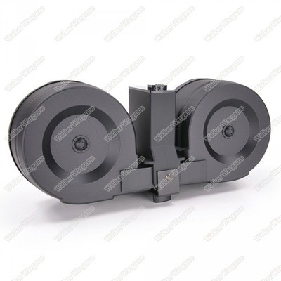 ICS 2500rd Adaptive Drum Magazine for Airsoft AEG Rifles w/ M4 Mag Adapter - Black