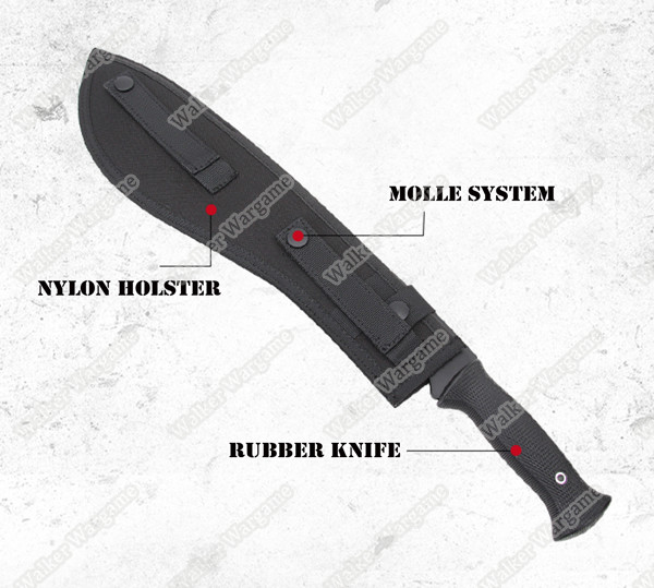 Rubber Training Tactical Rubber Machete With Holster - Black & Tan