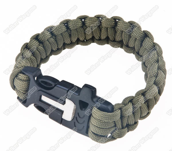 Survival Paracord Bracelet With Fire Starter And Emergency Whistle - OD Green