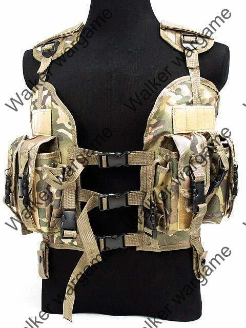 Tactical Navy Seal Combat Modular Assault Vest - Special Force Multi Camo