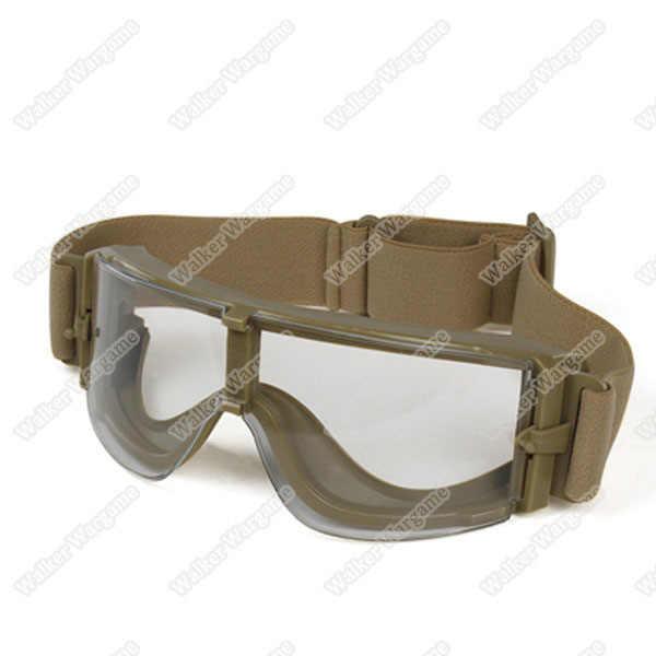 Tactical Wind Dust X800 Goggle Glasses Clear Lens Set - Tan