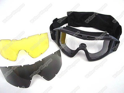 Tactical X500 Wind Dust Goggle Glasses With 3 Lens - Black Tan