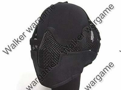 V2 Stalker Type Half Face Metal Mesh Mask - Black