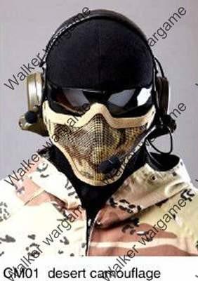 Stalker Type V1 Half Face Metal Mesh Mask - Desert Camo