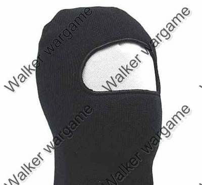 Winter 100% Wool Balaclava 1 Hole Face Mask - Black