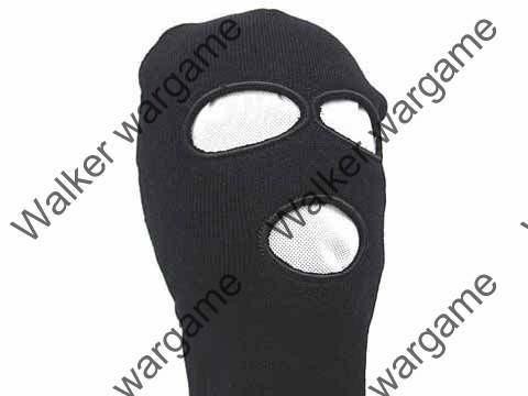Winter 100% Wool Balaclava 3 Hole - Black