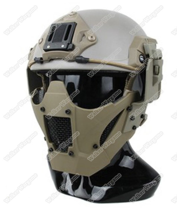 PDW Airsoft Tactical Hard Shell Half Fast Mesh Mask - Desert Tan