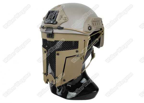 Spartan Airsoft Tactical Hard Shell Full Face Mesh Mask For Fast Jump Helmet - Desert Tan