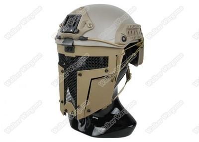 Spartan Airsoft Tactical Hard Shell Full Face Mesh Mask For Fast Jump Helmet - Desert Tan