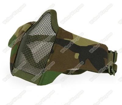 V1 Stalker Type Half Face Metal Mesh Mask - US Army WoodLand
