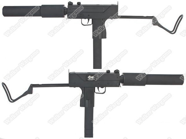 JG Full Size Metal Gearbox MAC-10 SMG Airsoft AEG Rifle - With Mock Suppressor
