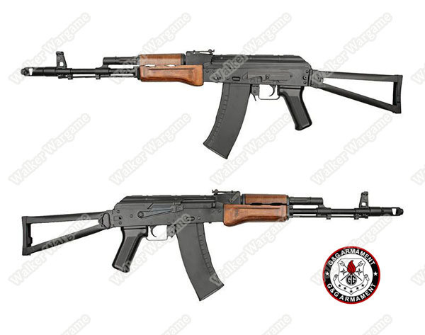 G&G GK74 Full Metal Real Wood Folding Stock Airsoft Replica AEG - Wood Color Incl Battery