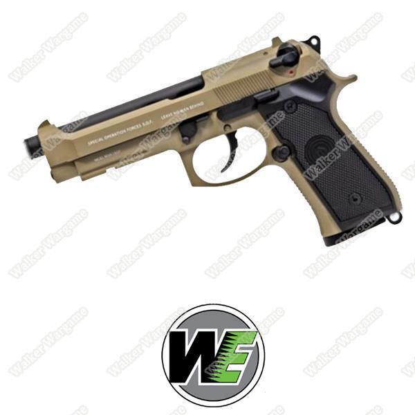 WE Beretta M9 Z88 Full Metal Green Gas Blow Back GBB Pistol - Desert Tan