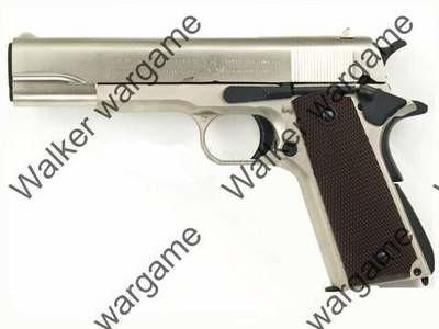 WE Full Metal Colt 1911 Single Stack Green Gas Blow Back Pistol - Silver