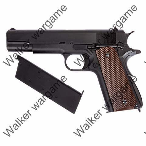 WE Full Metal Colt 1911 Single Stack Green Gas Blow Back Pistol - Brown
