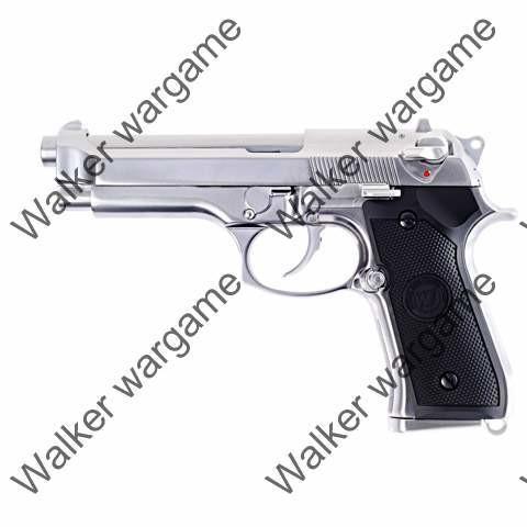 WE Beretta M9 Z88 Full Metal Green Gas Blow Back GBB Pistol New Version - Silver