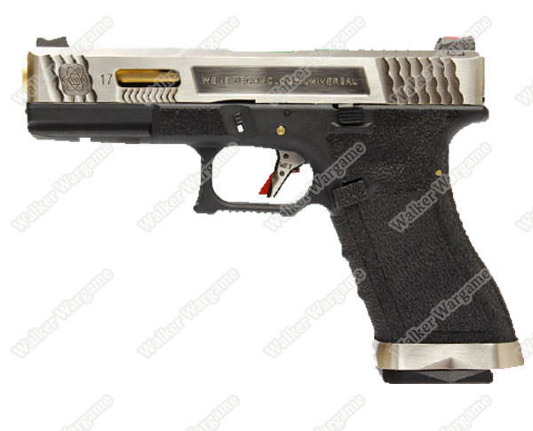 WE Special Custom Glock 17 GBB Pistol Transformers Type (Silver Slide, Black Frame, Gold Barrel)