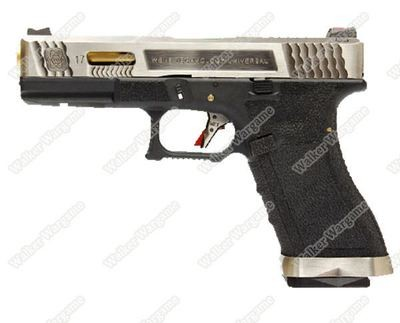 WE Special Custom Glock 17 GBB Pistol Transformers Type (Silver Slide, Black Frame, Gold Barrel)