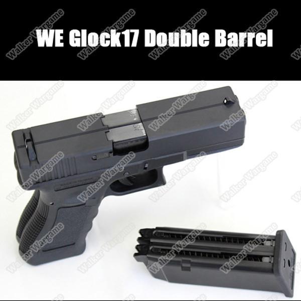 WE Tech Double Barrel Glock 17 Green Gas Blow Back Pistol - Black