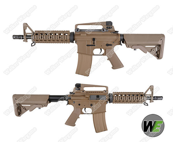 WE Full Metal CQBR M4 Open Bolt Green Gas Blow Back GBB Airsoft Rifle - Desert Tan