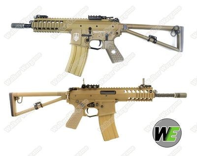 "WE KAC PDW 8"" Open Bolt Green Gas Blow Back GBB Rifle - Tan"