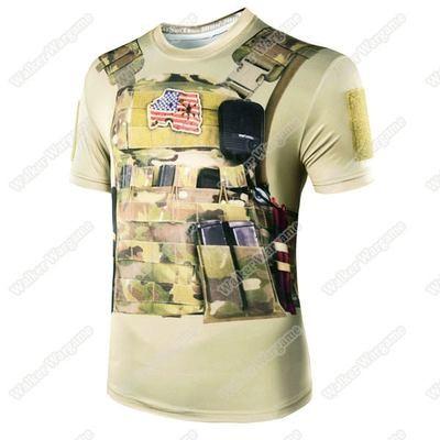 3D Print Combat Vest - Longtail T Short Sleeve T Shirt COOLMAX Fiber - Tan