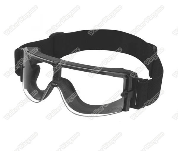 Tactical Wind Dust X800 Goggle Clear Glasses - Black