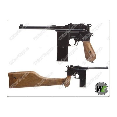WE Broomhandle Mauser C96 M712 Gas Blow Back Airsoft Pistol - With Butt Stock / Holster