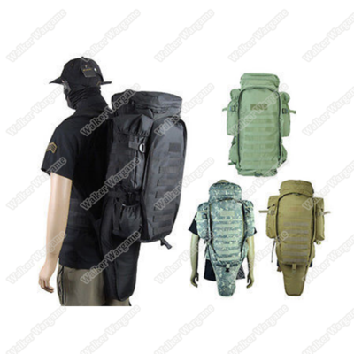 65L Combat Backpack w/ Rifle Bag - Black & Multicam