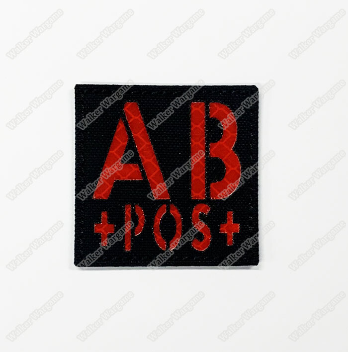 LWG011 AB POS - Laser Cut Reflective Blood Type Patch With Velcro With Velcro